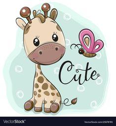 Cute Cartoon Giraffe and butterflies. Cute Cartoon Giraffe and butterfly on a blue background stock illustration Cartoon Elephant, Owl Cartoon, Cute Cartoon Girl, Cartoon Kids, Butterfly Drawing, Cute Butterfly, Butterfly Illustration, Cartoon Mignon, Fruit Cartoon