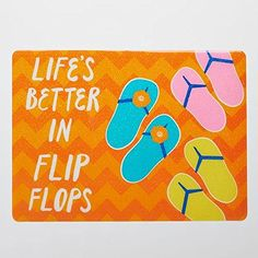 """Sonoma Life + Style Outdoor Placemat """"Life Is Better in Flip Flops"""" Set of 4 SONOMA life + style http://www.amazon.com/dp/B00S3B0BSE/ref=cm_sw_r_pi_dp_BwWGvb036SCB2"""