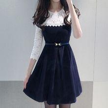 Fashion Street - Lace Trim 3/4 Sleeve A-Line Dress