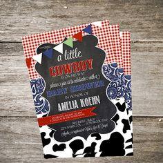 Cowboy Baby Shower Invitation Paisley Baby by PartyInvitesAndMore