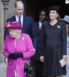 La reine Elisabeth II d'Angleterre, Catherine (Kate) Middleton enceinte, duchesse de Cambridge et le prince William, duc de Cambridge - La famille royale d'Angleterre célèbre le dimanche de Pâques dans la Chapelle Saint-Georges de Windsor le 31 mars 2018.