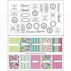 Fun Designer Labels & Stickers for DIY Lip Balm Tubes or Aromatherapy Essential Oil Inhalers - 38 Designs by Rivertree Life Rivertree Life