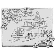 santa in a car images coloring pages | Watercolor Christmas Truck, Vintage Red Pickup, Pine Tree ...