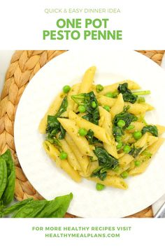 One Pot Pesto Penne with Spinach & Peas Pesto Sauce, Pesto Pasta, Quick Easy Dinner, Dinner Options, Recipe Details, Penne, The Fresh, Pasta Dishes, Healthy Dinner Recipes