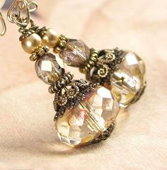 Cream Champagne Vintage Style Czech Glass by DorotaJewelry on Etsy, $ 27.90: