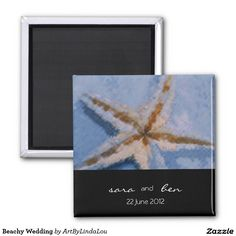 Beachy Wedding 2 Inch Square Magnet