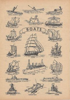 Vintage Nautical Illustration Boats Ships by VintageButtercup