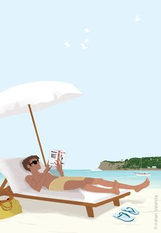 Illustration by Adrian Valencia. Happy Summer, Summer Time, Valencia, Love Illustration, People Art, Girly, Beach Art, Character Design, Character Sketches