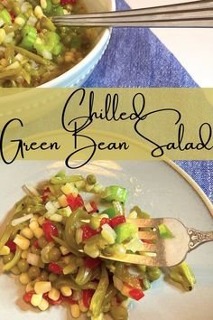 Chilled green bean salad is a quick and easy side dish any time of year. A simple sweet and tangy dressing melds the flavors of the vegetables making this a perfect vegetable dish for your meal. fitasafiddlelife.com Easy Vegetable Side Dishes, Vegetable Sides, Side Dishes Easy, Vegetable Dish, Green Bean Salads, Green Beans, Dinner Recipes, Vegetarian, Meals