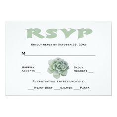 Succulent RSVP Cards Floral RSVP Mint Green Succulent Cactus Response Card