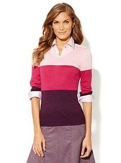 Colorblock Button-Shoulder Pullover