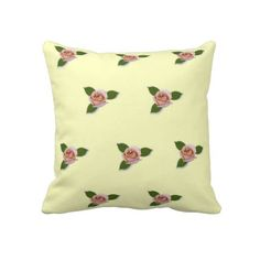 Pink Roses On A Yellow Background Throw Pillow