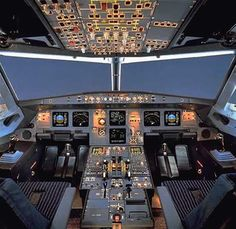 """Airbus A320 cockpit """"Yes, I'm on my airplane at Charles de Gaul"""" said my wonderful flying instructor when I phoned him!"""