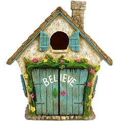 """Spring Garden Decor Adorable Believe Fairy House 8"""" Hand Painted Lawn Ornament #TwigFlower"""