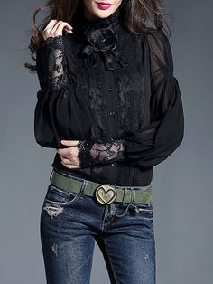 Shop Blouses - Black Paneled Balloon Sleeve Blouse online. Discover unique designers fashion at StyleWe.com.