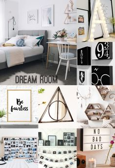 My Dream Room! A mix of my love for the Wizard World, a modern travel theme, polaroids and photography, and a nice comfy set of colors; gold, ocean blue, black, and white!     -Aubrey