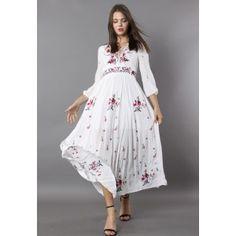 1911fbf04f3e77 Wondrous Floral Embroidered Maxi Dress - Retro