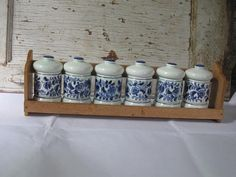 Vintage Wooden Spice Rack and 6 Spice Canisters - Jars on Etsy, $24.00