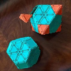The all green object is a truncated octahedron, and the green/orange one is an octahedron being truncated . Finish removing the orange pyramids, seal up the square holes, and you'll get a truncated octahedron . A recent conversation with a #mathteacher was a reminder to explain how some #archimedeansolids are obtained from #platonicsolids by #truncation . #geometiles #constructiontoys #mathtoy #mathteachers #mathteachersofinstagram #mathsteacher #mathstagram #geometryteacher #mtbos #math...