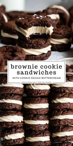 Cookie Desserts, No Bake Desserts, Just Desserts, Unique Desserts, Winter Desserts, Fun Baking Recipes, Sweet Recipes, Unique Cookie Recipes, Cookie Dough Brownies