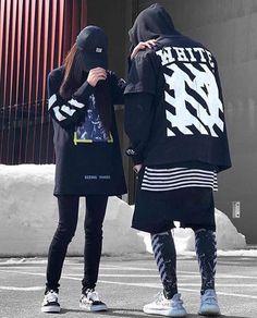 Black Off White Luxury women& and men& winter style Streetwear Mode, Designer Streetwear, Streetwear Fashion, Harajuku Mode, Harajuku Fashion, Fashion Outfits, Fashion Styles, Swag Couples, Urban Fashion