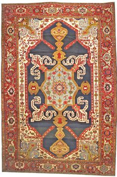 Antique Heriz - View this beautiful Antique Heriz Serapi Persian Rugs 44177 from Nazmiyal's fine antique rugs and decorative carpet collection. Wall Carpet, Rugs On Carpet, Persian Carpet, Persian Rug, Fabric Rug, Textiles, Carpet Colors, Floor Rugs, Kilim Rugs