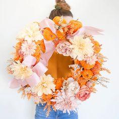 "Royale Ziegler on Instagram: ""Pink & punkins 🧡"" Floral Wreath, Thanksgiving, Wreaths, Fall, Pink, Instagram, Decor, Autumn, Floral Crown"