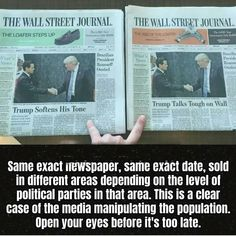 Same exact newspaper, same exáct date, sold in different areas depending on the level of political parties in that area. This is a clear case of the m...