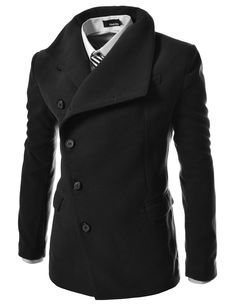 TheLees Men's Unbalance High Neck Slim Pea Coat at Amazon Men's Clothing store: Wool Outerwear Coats