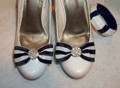 Blue White Striped Nautical  Shoe Clips  pair  by ShoeClipsOnly