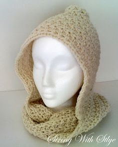 Free crochet pattern for scarf or infinity scarf and hood.  http://www.stringwithstyle.blogspot.com/2012/10/infinity-hooded-scarf.html