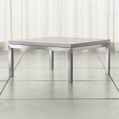Parsons Travertine Top/ Stainless Steel Base 36x36 Square Coffee Table - Crate and Barrel