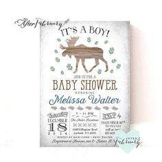 Spring Baby Shower Invitation // Moose Baby by AfterFebruary