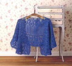 Crochet blue shawl ♥LCP-MRS️♥️with diagram.