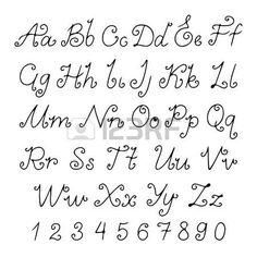 Set alphabet calligraphic - vector photo