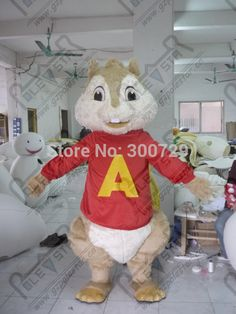 export high quality customized alvin mascot costumes red <font><b>shirt</b></font> chipmunk costumes