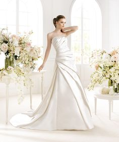 Avenue Diagonal (by Pronovias) Oran Wedding Dresses 2014, Cute Wedding Dress, Wedding Dress Shopping, Wedding Attire, Wedding Bride, Bridal Dresses, One Shoulder Wedding Dress, Bridesmaid Dresses, Wedding Flowers