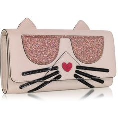 Karl Lagerfeld Handbags K/Kocktail Choupette Wallet w/Glitter (2,010 EGP) ❤ liked on Polyvore featuring bags, wallets, vegan leather wallet, pink wallet, vegan bags, faux leather bag and vegan leather bags