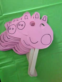 Peppa pig masks Diy easy fun kids toddlers pink cut out eye holes. Children can decorate great craft idea very simple
