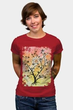 """This intricate tree with whimsical branches, roses and leaves is so romantic - even its branches are spelling """"LOVE""""! Perfect for romantics and dreamers. Art prints, t-shirts, tops, stickers, phone cases design by Sophia Newtown on dbh"""