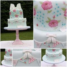 Cath Kidston inspired hand painted cake, with handpainted bunting and large focal bow.