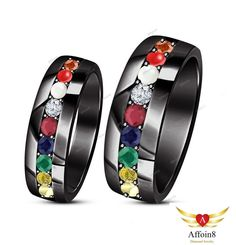 1.90 CT Round Multi-Color Navratna His/Her Couple Band Set 925 Silver Size 5-14 #Affoin8 #WeddingAnniversaryCoupleBand