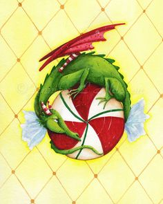 Peppermint Twist Dragon - ACEO Print - fantasy Christmas Winter candy Dragon Hatchling Egg Baby Babies Cute Funny Humor Fantasy Myth Mythical Mystical Legend Dragons Wings Sword Sorcery Magic Art Fairy Maiden Whimsy Whimsical Drache drago dragon Дракон  drak dragão