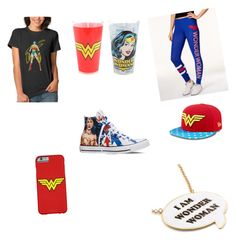"""""""Wonder Woman"""" by amarch3333 ❤ liked on Polyvore featuring Converse, Noir and Bioworld"""