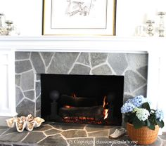 Bright Bay Front Home-Before & After - Classic Casual Home Slate Fireplace, Fireplace Redo, Fireplace Surrounds, Fireplace Design, Fireplace Ideas, Stacked Stone Fireplaces, Beach House Decor, Home Decor, Metal Homes
