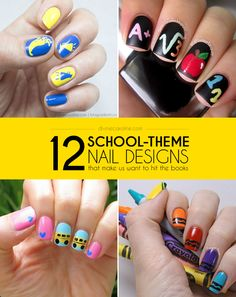 If you've just started another new school year, get yourself in the spirit with one of these 12 school-theme nail designs. #divinecaroline #nailart