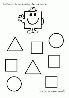 Monsieur bonhomme carré: maths, formes géométriques petite section Color Activities, Preschool Activities, Early Learning, Kids Learning, Cognitive Activities, Monsieur Madame, Learning Shapes, Pre Kindergarten, Worksheets