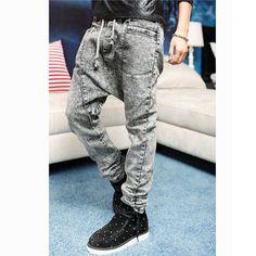Men Korean Design  Low Drop crotch Denim Jeans Harem hip hop Long pants Slack baggy  Plus Big Size pants Stretch trousers Grey-in Pants from Apparel & Accessories on Aliexpress.com