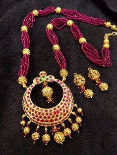 Items similar to Traditional & Temple Pendant Necklace Set with Earrings in Ruby's,Emeralds and Pink Color Beads Gold) - Indian Jewelry for Parties on Etsy Gold Earrings Designs, Gold Jewellery Design, Bead Jewellery, Necklace Designs, Pendant Jewelry, Beaded Jewelry, Beaded Necklace, Gold Necklace, Gold Jewelry