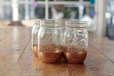 Gold dipped mason jar